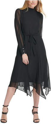 DKNY Mock-Neck Sheer-Sleeve Handkerchief Hem Dress