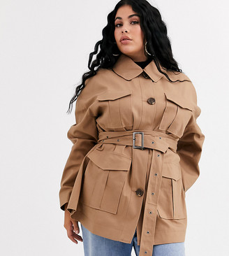 ASOS DESIGN Curve utility trench jacket in stone