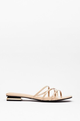 Nasty Gal Womens Strappy for You Faux Leather Flat Sandals - Stone
