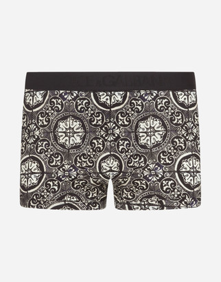 Dolce & Gabbana Cotton Boxers With Maiolica Print On A Black Background