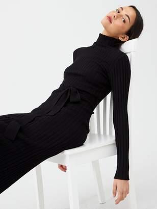 Very Roll Neck Rib Self Belt Midi Dress - Black