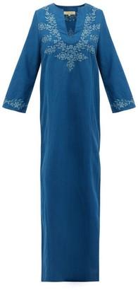 Muzungu Sisters - Lotus Floral-embroidered Linen Kaftan - Blue Multi