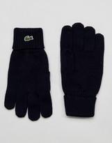 Lacoste Logo Gloves In Navy