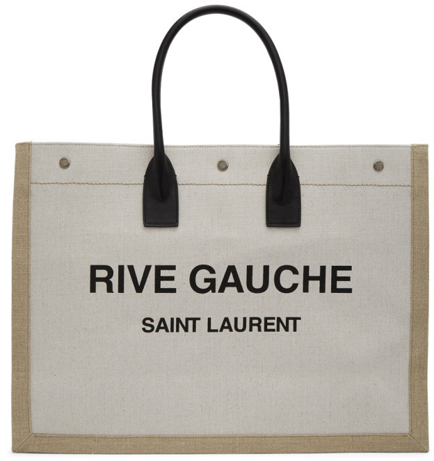Saint Laurent Off-White and Tan Rive Gauche Noe Tote