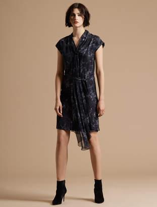 Halston Cap Sleeve Draped Neck Printed Silk Dress