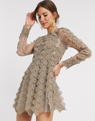Asos Design DESIGN high neck linear lace mini dress-Grey
