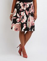 Charlotte Russe Plus Size Floral Pleated Midi Skirt
