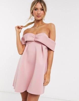 ASOS DESIGN bardot babydoll mini skater dress in blush