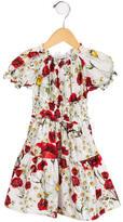 Dolce & Gabbana Girls' Carnation Print Gathered Dress