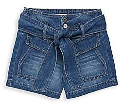 Habitual Girl's Janie High-Waist Belted Denim Shorts