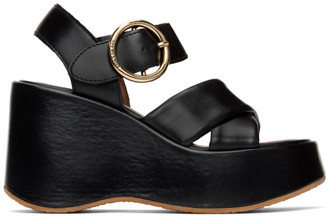 See by Chloe Black Leather Lyna Wedge Sandals