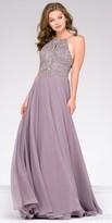 Jovani Crystal Embellished Halter Chiffon Prom Dress
