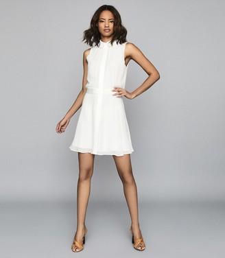 Reiss ALLIE SEMI SHEER SLEEVELESS DRESS Ivory
