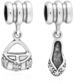 Rhona Sutton 4 Kids Children's Purse Slipper Drop Charms - Set of 2 in Sterling Silver