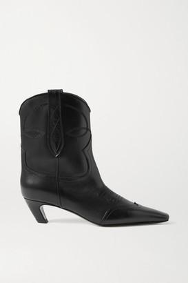 KHAITE Dallas Leather Ankle Boots - Black