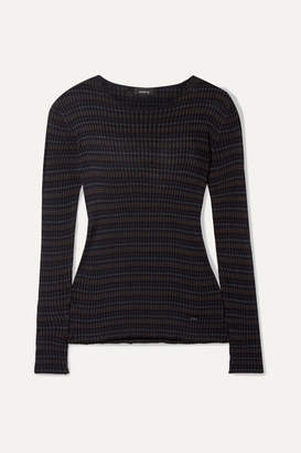 Akris Striped Mulberry Silk Sweater - Black