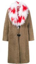 Saks Potts Febbe Red Cross Tibetan lamb collar coat