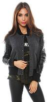 SMYTHE Varsity Bomber Jacket in Grey/Black