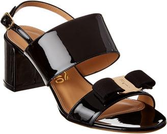 Salvatore Ferragamo Giulia Vara Bow Patent Sandal