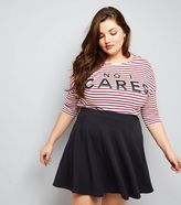 New Look Curves Black Flounce Skater Skirt