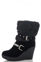 Quiz Black Fur Diamante Eyelet Wedge Boots