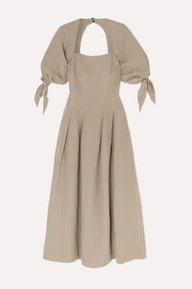 Mara Hoffman Net Sustain Kalilah Tencel Lyocell And Linen-blend Midi Dress - Gray