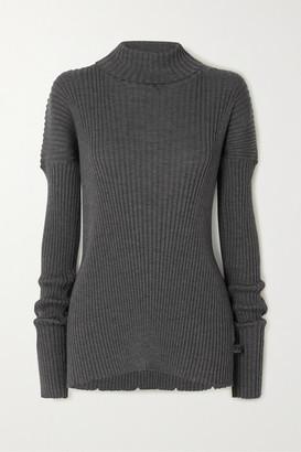 Bottega Veneta Ribbed Wool Turtleneck Sweater - Gray