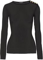 Balmain Ribbed-knit Top - Black