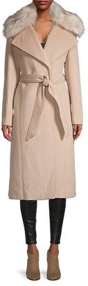 Karl Lagerfeld Paris Wool-Blend Faux Fur-Collar Coat