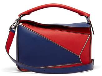 Loewe Puzzle Small Grained-leather Cross-body Bag - Womens - Red Multi