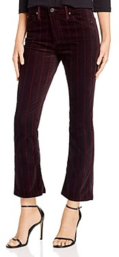 AG Jeans Jodi Crop Flare Velvet Jeans in Delos Stripe Port Wine/Magenta Margot