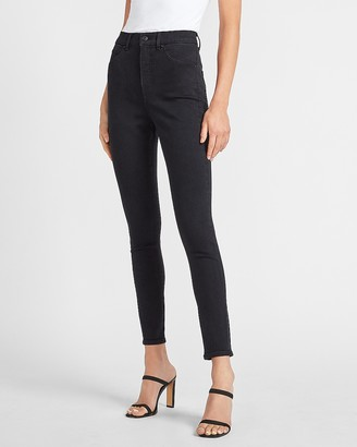 Express Super High Waisted Denim Perfect Black Skinny Jeans