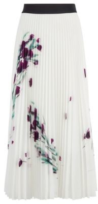 HUGO BOSS Midi Length Plisse Skirt With Placed Floral Print - Patterned