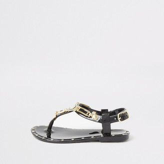 River Island Mini girls black studded jelly sandals