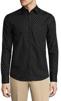Haggar Long Sleeve Printed Button-Front Shirt