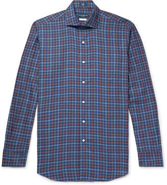 Peter Millar Alpine Cutaway-Collar Checked Cotton Shirt