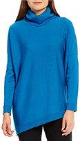 Eileen Fisher Turtleneck Asymmetrical Hem Slouchy Merino Wool Top