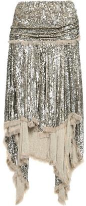 Zimmermann Asymmetric Sequined Crepe Skirt
