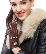 Nappaglo Women's Driving Leather Gloves Lambskin Full-finger Motorcycle Open Back Unlined