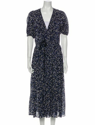 Ulla Johnson Floral Print Long Dress w/ Tags Blue