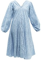 Ganni Balloon-sleeved Broderie-anglaise Cotton Dress - Womens - Light Blue