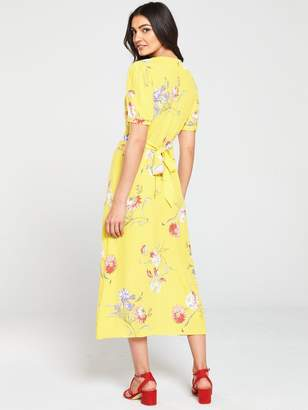 Warehouse Iris Floral Tea Dress - Yellow