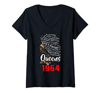 Womens Black Queens Are Born In 1964 54th Birthday Gift V-Neck T-Shirt