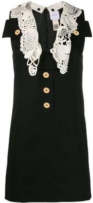V-neck crochet detail dress