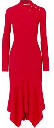 Stella McCartney Asymmetric Ribbed Wool And Silk-blend Dress