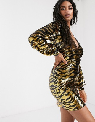 IvyRevel plunge mini dress with long sleeves in gold and black animal sequin