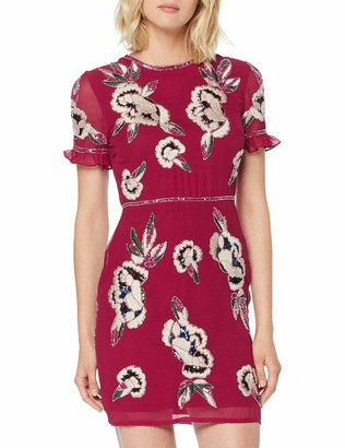 Frock and Frill Women's Ginny Frill Sleeve Embellished Mini Dress Party