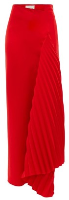 A.W.A.K.E. Mode Asymmetric Pleated Crepe Skirt - Red