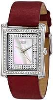 Burgi Women's BUR088BK Swiss Quartz Crystal Mother-of-Pearl Black Leather Strap Watch