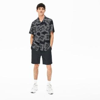 Lacoste Men's Pinstriped Linen- Blend Bermuda Shorts
